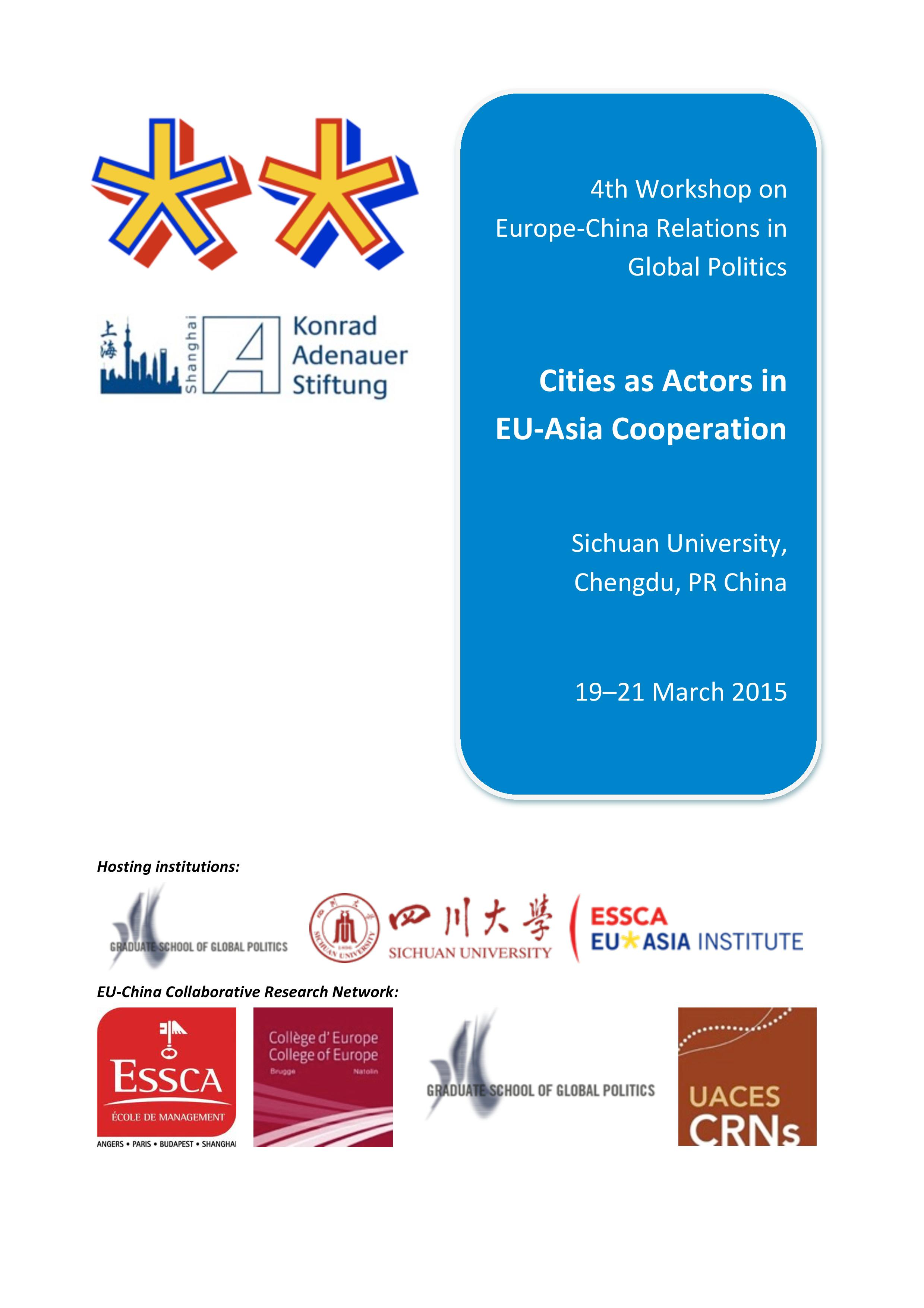 Fourth Workshop on Europe-China Relations in Global Politics: Cities as  Actors in EU-Asia Cooperation